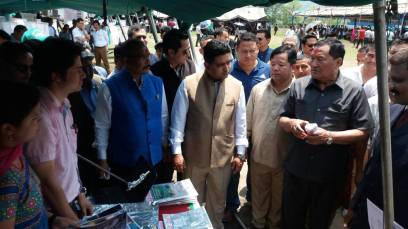 Sikkim Ministers D D Bhutia, A K Ghatani and others visiting a display by Hariyo Makha.