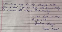 Sharing the feedback received from Rabina Acharya, student of Amba SS about our recent Career Guidance Programme held at Mamring School. We wish her a bright future ahead.